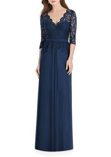 Jenny Packham V-Neck 3/4-Sleeve Crepe Bridesmaids Dress w/ Marquis Lace Bodice