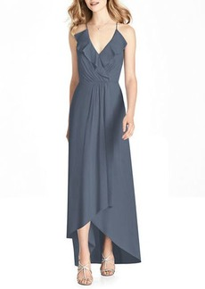 Jenny Packham V-Neck Cross-Back High-Low Chiffon Bridesmaid Dress w/ Ruffle-Trim