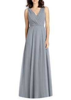 Jenny Packham V-Neck Sleeveless A-Line Lux Chiffon Bridesmaid Gown