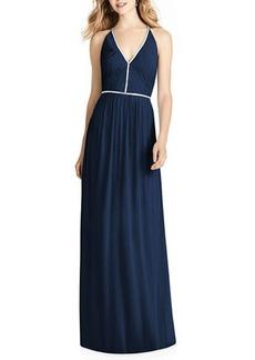 Jenny Packham V-Neck Sleeveless Cross-Back Luxe Chiffon Gown Bridesmaid Dress