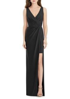 Jenny Packham V-Neck Sleeveless Drape-Front Gown Bridesmaid Dress with Slit