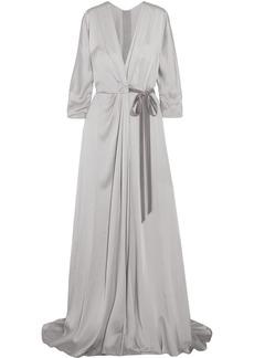 Jenny Packham Velvet-trimmed Satin-crepe Wrap Gown