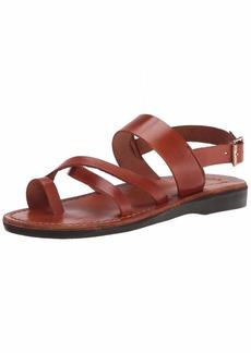 Jerusalem Sandals Amos - Leather Ankle Strap Flat Sandal -