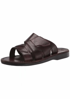 Jerusalem Sandals Mens Mateo  Durable Handcrafted Real Leather Sandals Slide Sandals for Men with Open Toe Strappy Vamp Details Textured Sole Waterproof Size  US