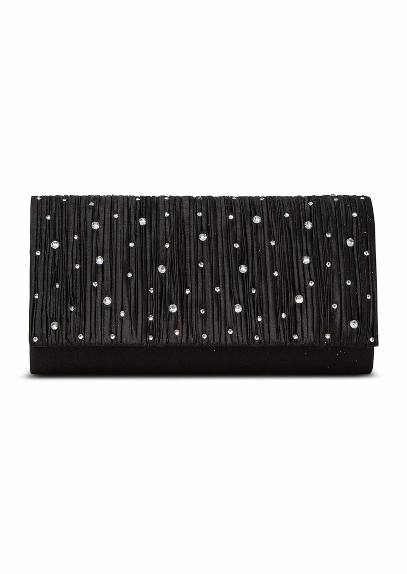 Jessica McClintock Chloe Ruched Clutch with Scatered Rhinestones