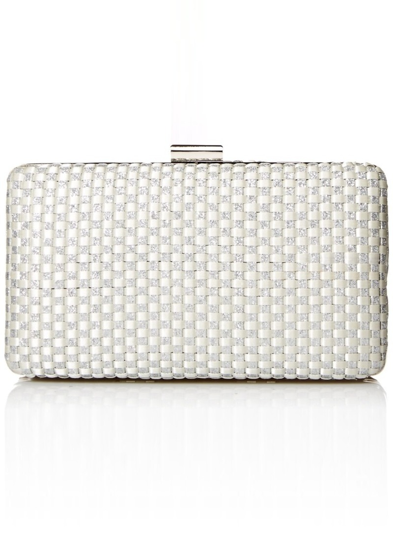 Jessica McClintock Noelle Woven Satin Glitter Evening Clutch Minaudiere silver