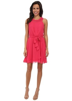 Jessica Simpson Braided Neck Chiffon Dress JS5U7058