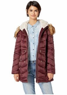 Jessica Simpson Cinched Waist Hooded Puffer with Arm Pocket