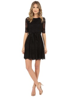 Jessica Simpson 3/4 Novelity Lace Dress with Self Sash