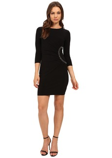 Jessica Simpson 3/4 Sleeve Dress with Side Ruche Detail JS6D8648
