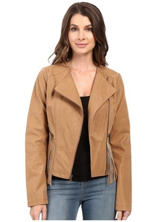 Jessica Simpson Asymmetrical Zip with Fringe Detail Jacket