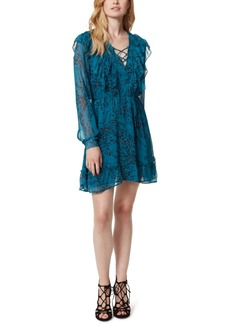 Jessica Simpson Barry Lace-Up Floral Print Dress