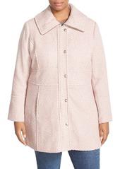 Jessica Simpson Basket Weave Fit & Flare Coat (Plus Size)