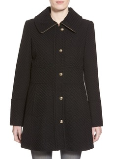 Jessica Simpson Basket Weave Fit & Flare Coat