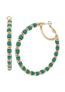 """Jessica Simpson Beaded Hoop Earrings, 2.25"""""""