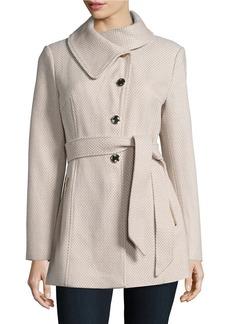 JESSICA SIMPSON Belted Tweed Walker Coat