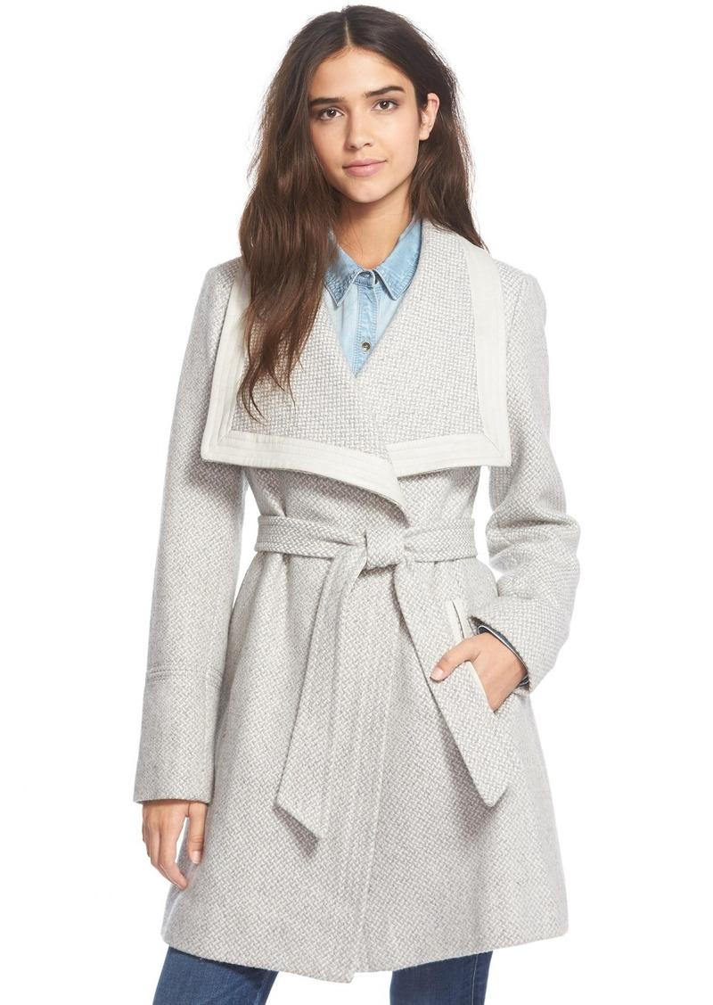 Jessica Simpson BeltedBasket Weave Wrap Coat