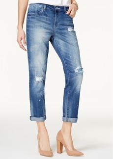Jessica Simpson Best Friend Ripped Medium Blue Wash Straight-Leg Jeans