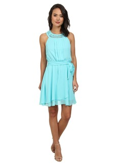Jessica Simpson Braided Neck Chiffon Dress JS5U7058