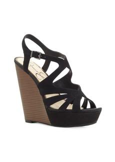 Jessica Simpson Brissah Caged Leather Wedge Platform Sandals