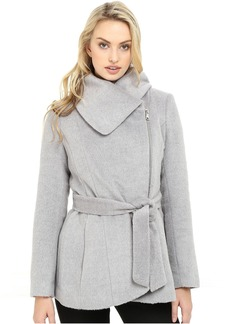 Brushed Wool Touch Coat w/ Asymmetrical Zip