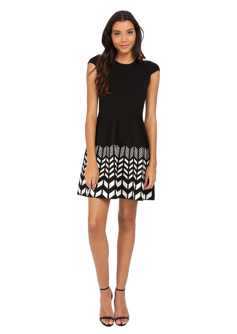 Jessica Simpson Cap Sleeve Sweater Dress with Printed Skirt