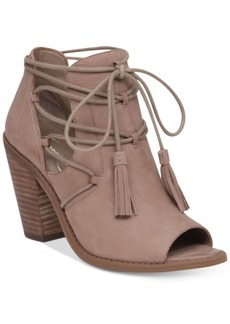 Jessica Simpson Ceri Tassel-Tie Peep-Toe Booties Women's Shoes