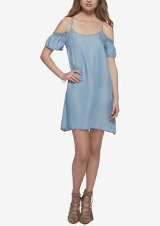 Jessica Simpson Chambray Cold-Shoulder Dress