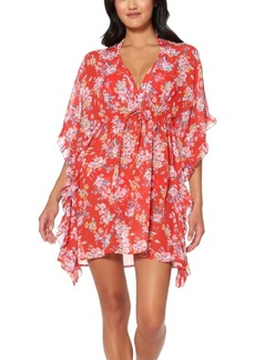 Jessica Simpson Chantilly Lace Printed Ruffled Caftan Swim Cover-Up Women's Swimsuit