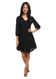 Jessica Simpson Chiffon Lace Up Fit & Flare Dress JS5E7138