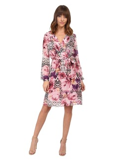 Jessica Simpson Chiffon Long Sleeve Floral Dress