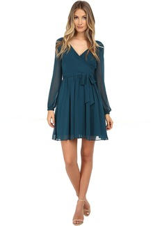 Jessica Simpson Chiffon Long Sleeve Wrap Dress
