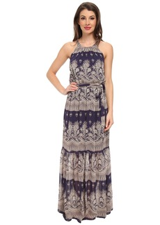 Jessica Simpson Chiffon Printed Maxi with Lazer Cut Back