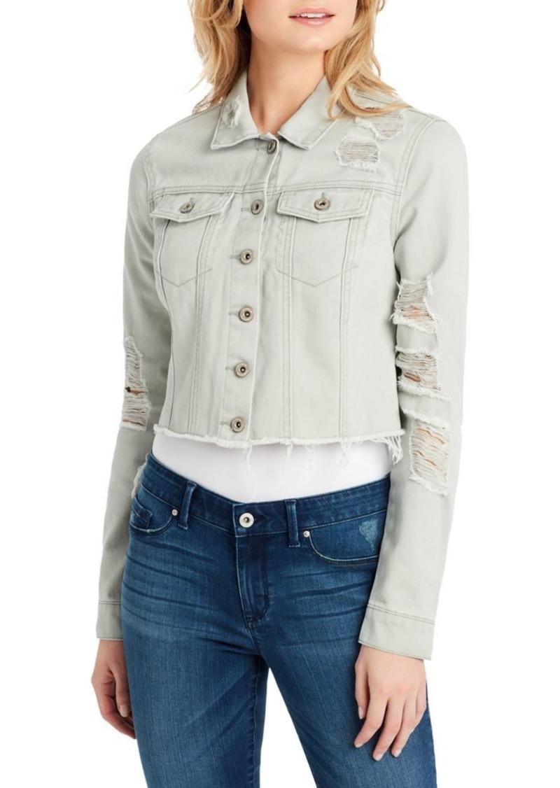 cdb8922085d Jessica Simpson Jessica Simpson Classic Distressed Denim Jacket ...