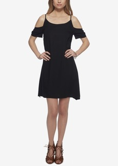 Jessica Simpson Cold-Shoulder Applique Shift Dress