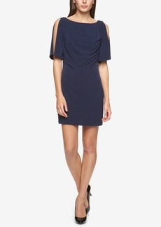 Jessica Simpson Cold-Shoulder Draped Jersey Sheath Dress