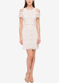 Jessica Simpson Cold Shoulder Lace Sheath Dress
