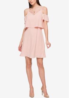 Jessica Simpson Cold-Shoulder Lace-Up Dress