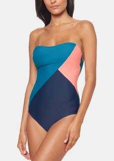 Jessica Simpson Colorblocked One-Piece Swimsuit Women's Swimsuit