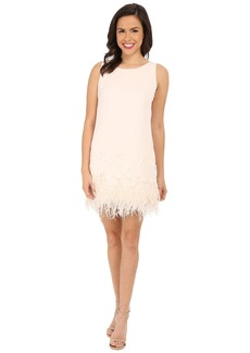 Jessica Simpson Crepe Dress with Feather Applique