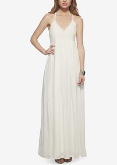 Jessica Simpson Crisscross-Strap Crochet-Top Maxi Dress