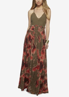 Jessica Simpson Crochet-Bodice Printed Maxi Dress