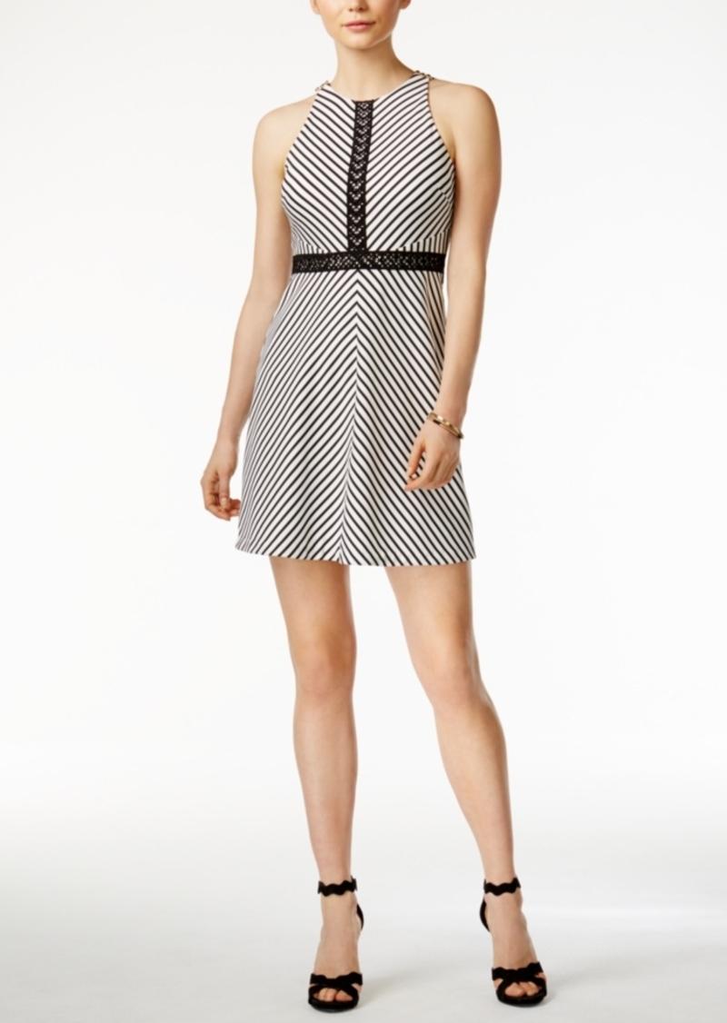 Jessica Simpson Crochet Striped A-Line Dress