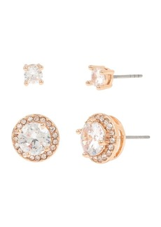 Jessica Simpson Cubic Zirconia Halo Stud Earrings Set