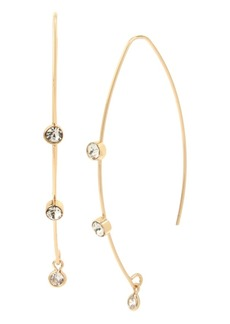 "Jessica Simpson Cubic Zirconia Stone Threader Earrings, 2.2"""