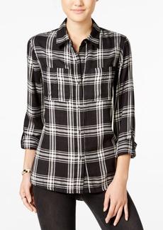 Jessica Simpson Dion High-Low Plaid Shirt