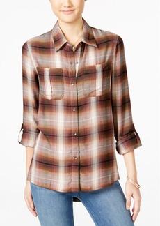 Jessica Simpson Dion Tab-Sleeve Plaid Shirt
