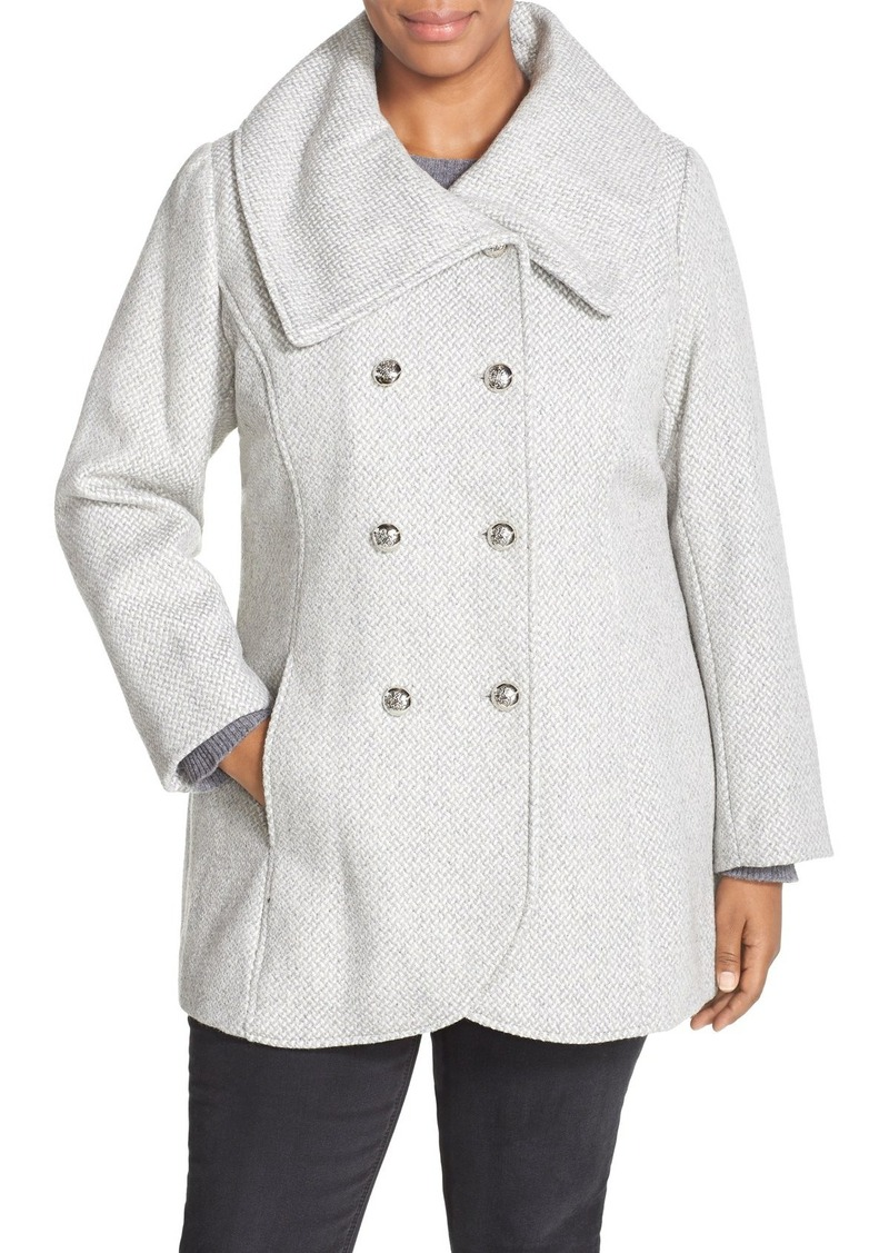 Jessica Simpson Double Breasted Basket Weave Coat (Plus Size)