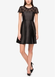 Jessica Simpson Embellished Lace-Yoke Fit & Flare Dress