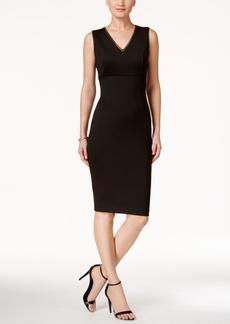 Jessica Simpson Embellished V-Neck Midi Sheath Dress